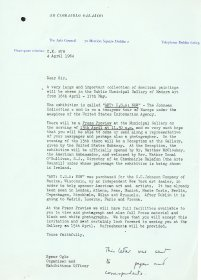 Letter from Speer Ogle, Organiser and Exhibitions Officer, the Arts Council, sent as a press release to papers and correspondents